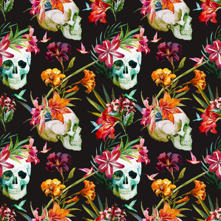 Illustration pour Beautiful vector pattern with nice watercolor skull and flowers - image libre de droit