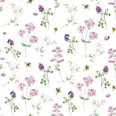 Ilustración de Beautiful  pattern with nice watercolor wildflowers - Imagen libre de derechos