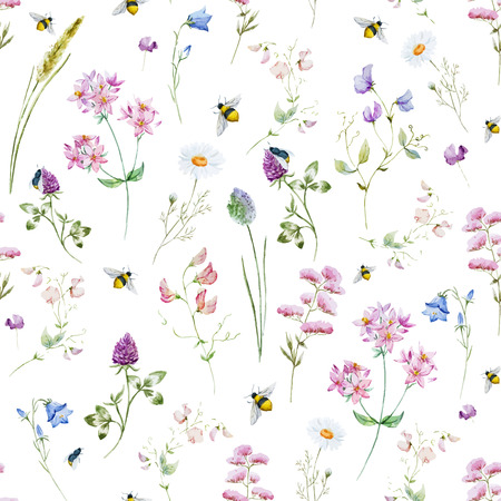 Illustration pour Beautiful pattern with nice watercolor wildflowers - image libre de droit
