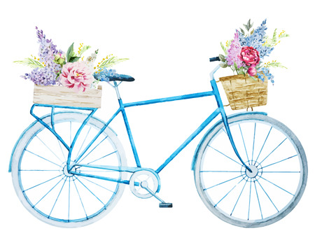 Illustration pour Beautiful vector image with nice watercolor bike bicycle - image libre de droit
