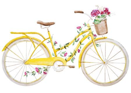 Illustration pour Beautiful vector image with nice watercolor bike bicycle - image libre de droit