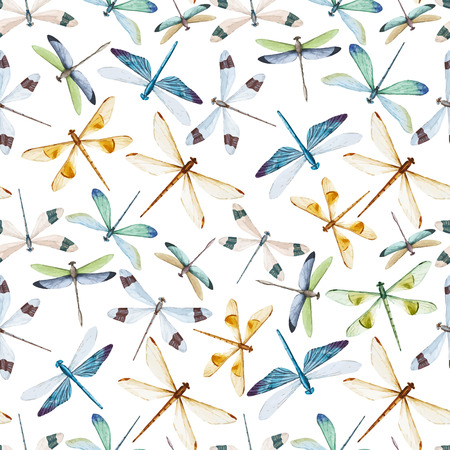 Illustration for Beautiful pattern with nice watercolor dragonflies - Royalty Free Image
