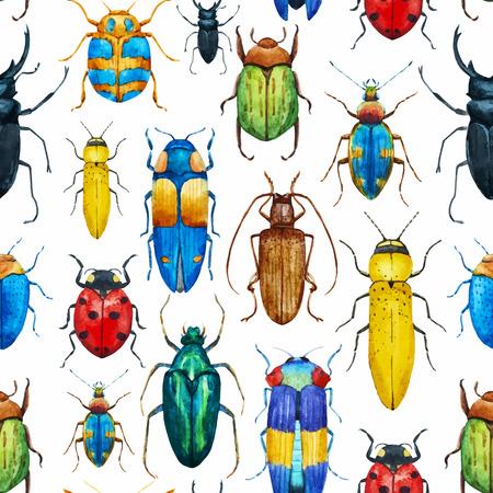 Illustration pour Beautiful pattern with nice watercolor bugs - image libre de droit