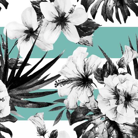 Ilustración de Beautiful vector pattern with nice watercolor hibiscus - Imagen libre de derechos