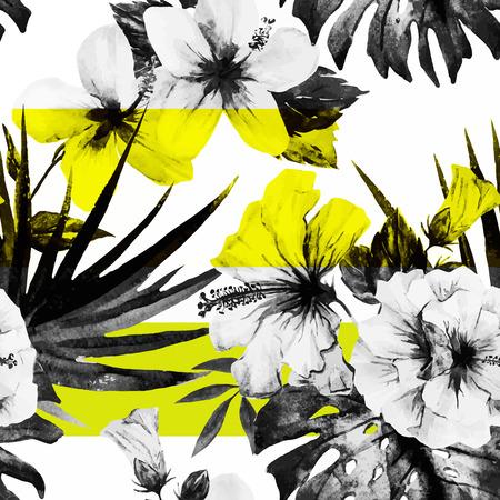 Illustration pour Beautiful vector pattern with nice watercolor hibiscus - image libre de droit