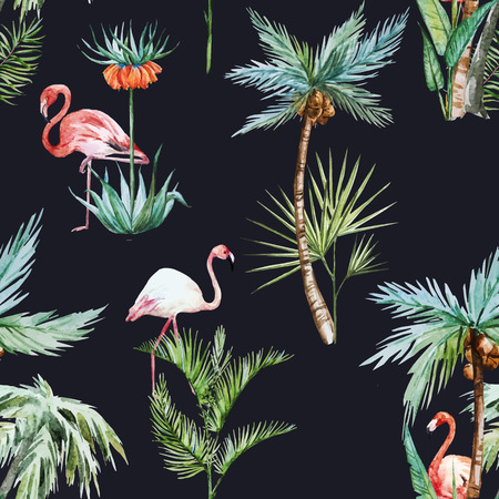 Illustration pour Beautiful vector pattern with nice watercolor palms and flamingo - image libre de droit