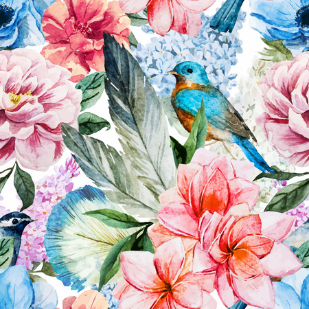 Ilustración de Beautiful vector pattern with nice watercolor flowers - Imagen libre de derechos