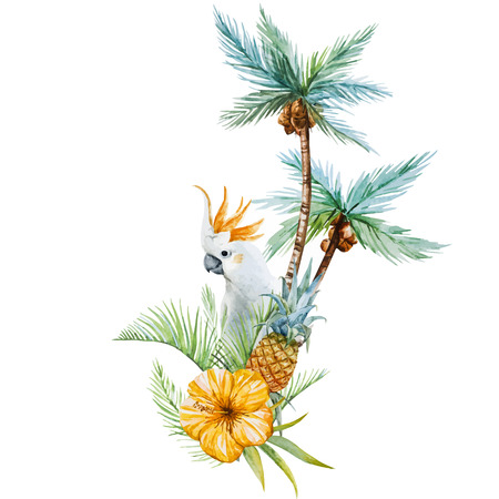 Illustration pour Beautiful vector image with nice watercolor tropical palm - image libre de droit