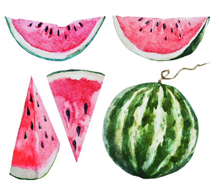 Ilustración de Beautiful vector image with nice watercolor watermelon - Imagen libre de derechos