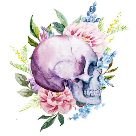 Ilustración de Beautiful vector image with nice watercolor skull with flowers - Imagen libre de derechos