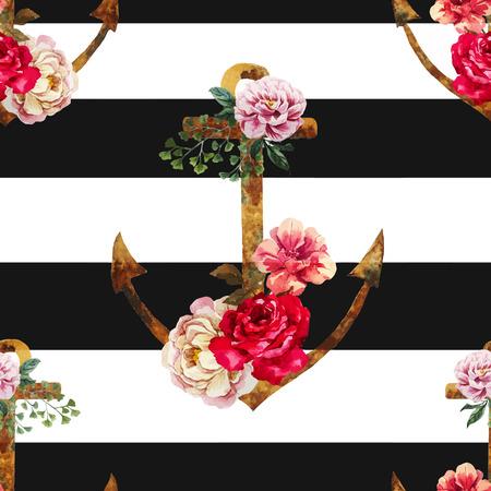 Ilustración de Beautiful vector pattern with nice watercolor anchors - Imagen libre de derechos
