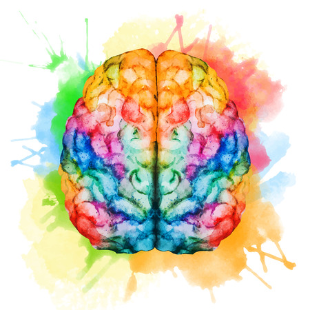 Illustration pour Beautiful vector image with nice watercolor brain - image libre de droit