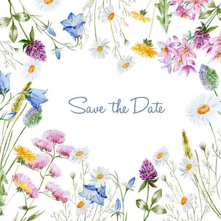 Ilustración de Beautiful vector image with nice watercolor floral frame - Imagen libre de derechos