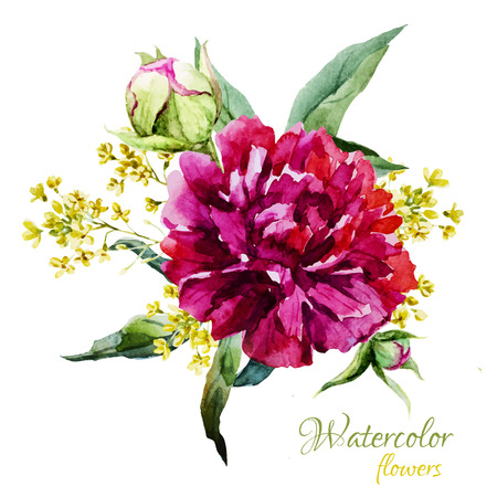 Beautiful vector image with nice watercolor summer flowers