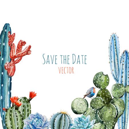 Illustration pour Beautiful image with watercolor cactus frame - image libre de droit