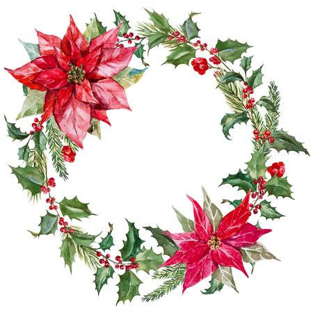 Illustration pour Beautiful image with nice watercolor christmas wreath - image libre de droit