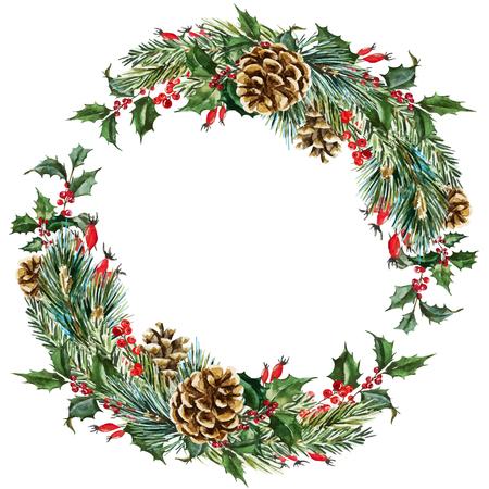 Illustration pour Beautiful vector image with nice hand drawn watercolor christmas wreath - image libre de droit