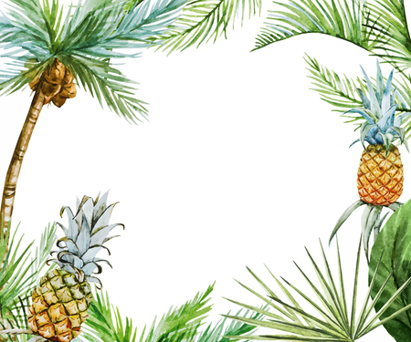 Ilustración de Beautiful vector image with nice watercolor tropical frame - Imagen libre de derechos