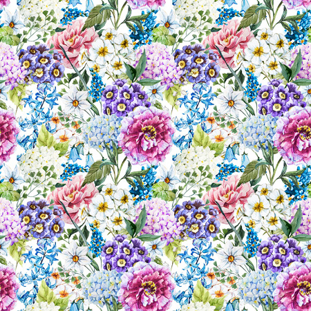 Photo for Watercolor floral pattern - Royalty Free Image