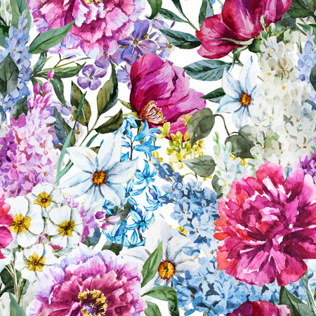 Ilustración de Beautiful vector image with nice watercolor floral pattern - Imagen libre de derechos