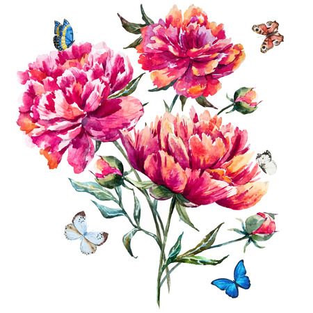 Illustration pour watercolor peony - image libre de droit