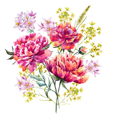 Illustration pour watercolor peony flowers - image libre de droit