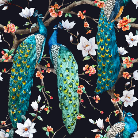 Illustration for Beautiful vector pattern Watercolor raster peacock pattern - Royalty Free Image