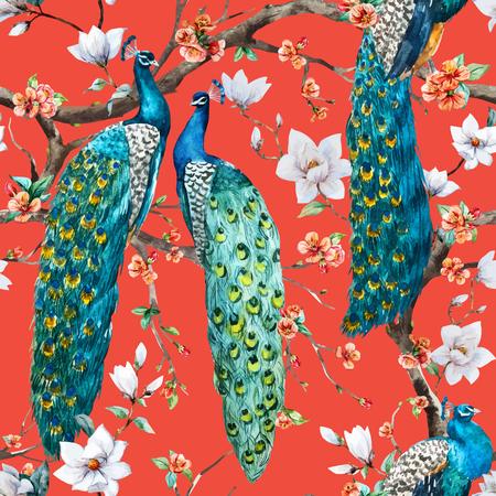 Ilustración de Beautiful vector pattern Watercolor raster peacock pattern - Imagen libre de derechos