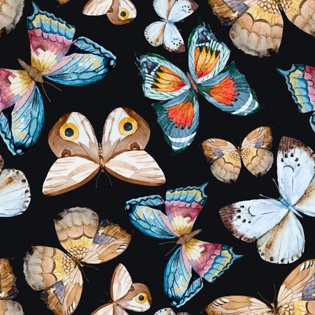 Illustration pour illustrated watercolor  butterflies - image libre de droit