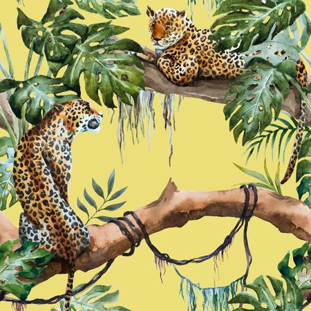 Ilustración de illustrated watercolor  leopard - Imagen libre de derechos