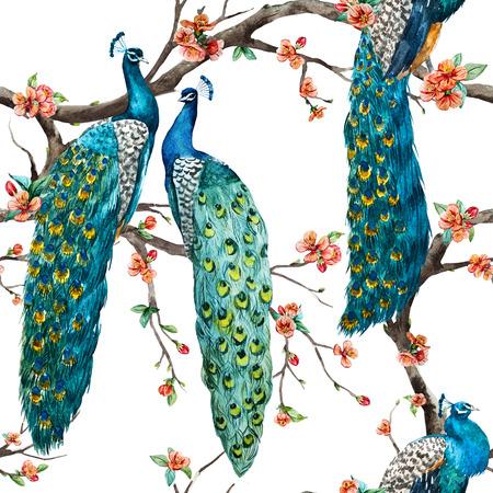 Foto de Beautiful raster pattern Watercolor raster peacock pattern - Imagen libre de derechos