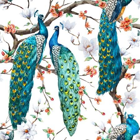 Photo for Beautiful raster pattern Watercolor raster peacock pattern - Royalty Free Image