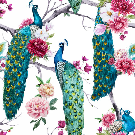 Illustration pour Beautiful pattern with nice watercolor peacock and flowers - image libre de droit