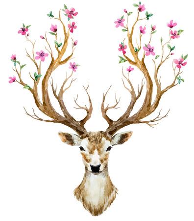 Ilustración de Beautiful image with nice watercolor hand drawn deer - Imagen libre de derechos