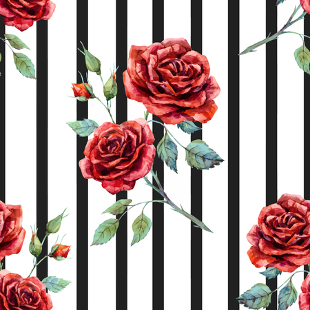 Illustration pour Beautiful pattern with nice hand drawn watercolor roses - image libre de droit