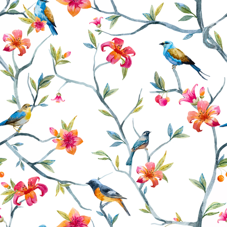 Illustration pour Pattern with hand drawn watercolor flowers and birds - image libre de droit