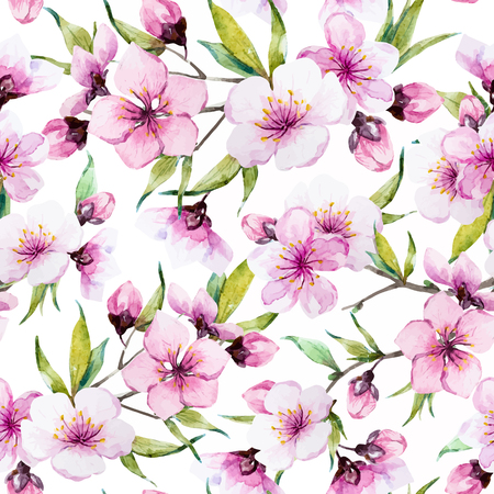 Ilustración de Beautiful pattern with nice watercolor sakura flowers - Imagen libre de derechos