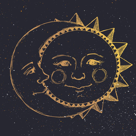 Illustration for Beautiful image with nice hand drawn sun and moon relationship - Royalty Free Image