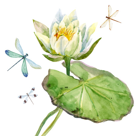 Illustration pour Beautiful image with nice watercolor lotus flowers - image libre de droit