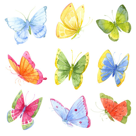 Photo for Beautiful image with many colorful watercolor butterflies - Royalty Free Image