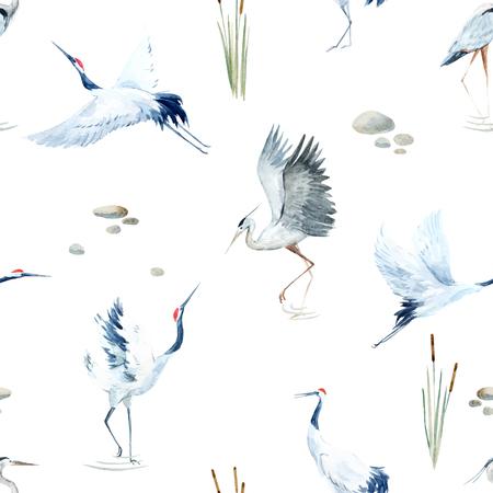 Illustration pour Beautiful vector pattern with nice watercolor hand drawn cranes - image libre de droit
