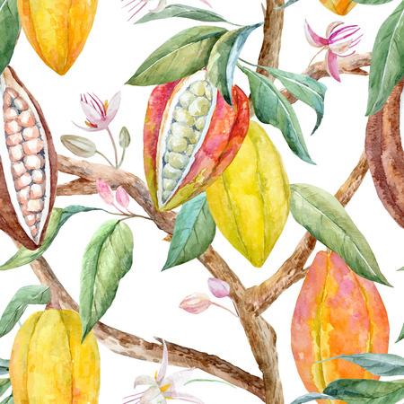 Ilustración de Watercolor cacao vector pattern - Imagen libre de derechos