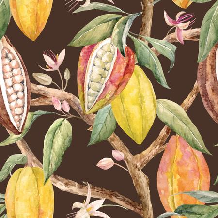 Ilustración de Watercolor cacao vector pattern. - Imagen libre de derechos