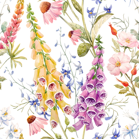 Illustration pour Watercolor floral summer vector pattern - image libre de droit