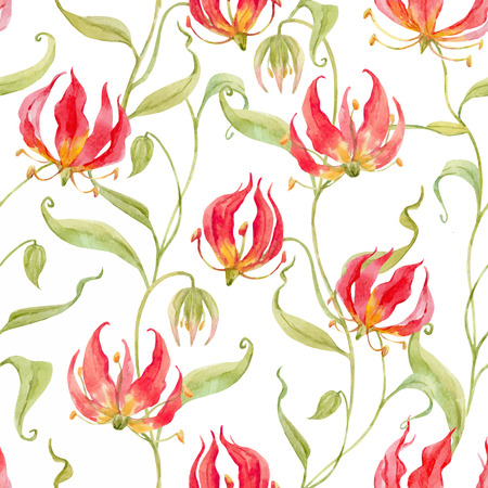 Illustration for Watercolor vector gloriosa rothschildiana pattern - Royalty Free Image