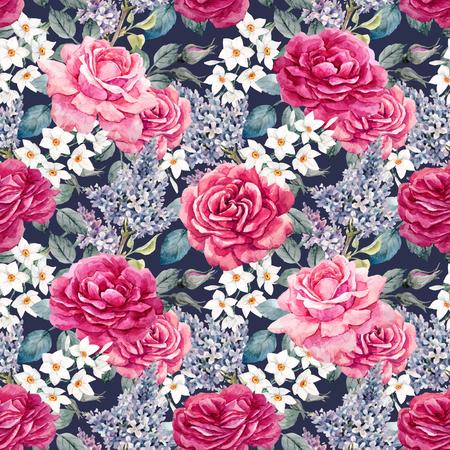 Illustrazione per Watercolor rose seamless vector pattern - Immagini Royalty Free