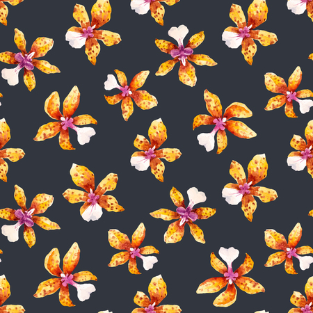 Illustration for Watercolor orchid flowers tropical vector pattern - Royalty Free Image