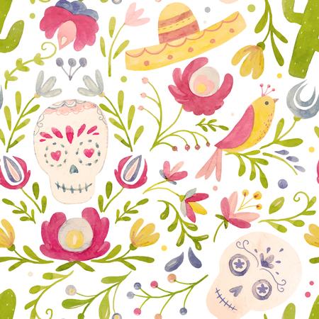 Ilustración de Watercolor vector mexican style pattern - Imagen libre de derechos
