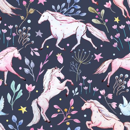 Illustration pour Watercolor unicorn vector pattern - image libre de droit