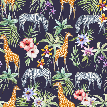 Illustration pour Tropical wildlife vector pattern - image libre de droit